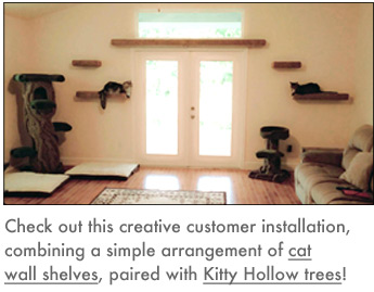 CatsPlay offers a variety of cat trees and gyms that have a small footprint but great climbing room.  The Hollywood Franklin floor-to-ceiling cat tower, pictured at right, is a great example of a sleek, modern, compact design that blends beautifully into its surrounding but provides excellent climbing space for your cats.  The cat tree can be easily moved within minutes to a different location within your house or the balcony to offer your cats exciting new experiences.